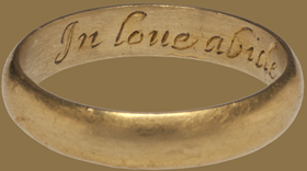 "A Renaissance poesy ring inscribed with ""In love abide till Death devide,"" a sentiment Henry, Lord Neville, might have done well to remember.  (This ring from medieval-rings.com can be yours for a mere $6,500)"