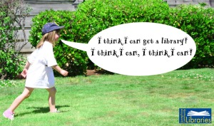 A young JCLI volunteer (my daughter!) protesting the library's closure.